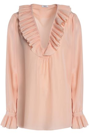 VILSHENKO Ruffled pleated silk crepe de chine blouse