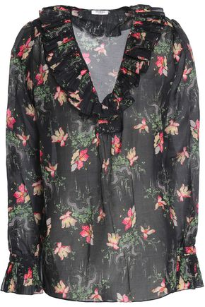 VILSHENKO Ruffled pleated floral-print cotton and silk-blend blouse