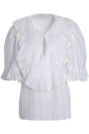 VILSHENKO Ruffled embroidered cotton-gauze blouse
