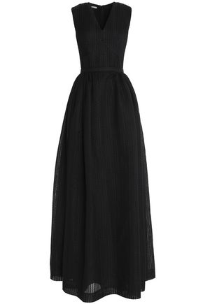 EMILIA WICKSTEAD Flared embroidered cotton-blend gown