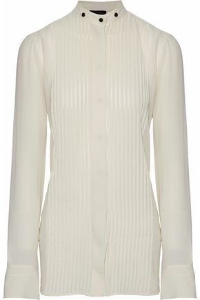 BELSTAFF Pintucked silk-georgette shirt