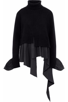 GOEN.J Ruffled cotton-poplin and wool and cashmere-blend turtleneck sweater