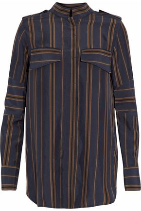 BELSTAFF Paneled striped silk shirt