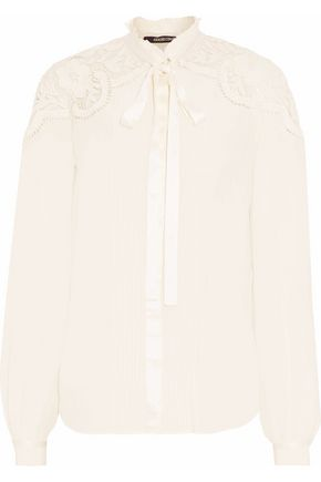 ROBERTO CAVALLI Lace-trimmed pussy-bow silk shirt