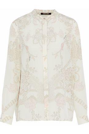 ROBERTO CAVALLI Floral-print silk shirt