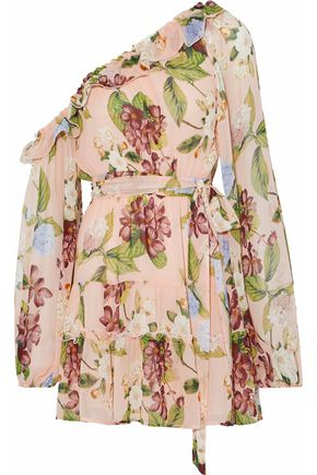 NICHOLAS One-shoulder ruffled floral-print silk-chiffon mini dress