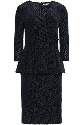 GANNI Zebra-print devoré-velvet peplum dress