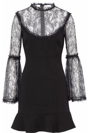 NICHOLAS Chantilly lace-paneled fluted crepe mini dress