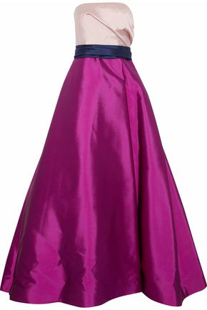 REEM ACRA Strapless color-block wool and silk-blend duchesse-satin gown