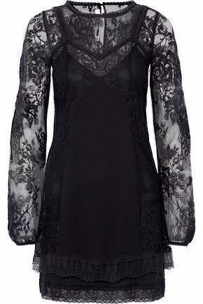 McQ Alexander McQueen Chantilly lace-paneled crepe de chine mini dress
