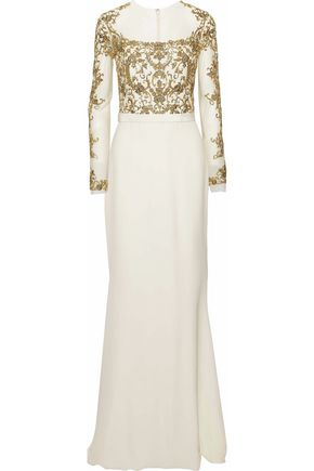 REEM ACRA Embellished silk-tulle and crepe gown