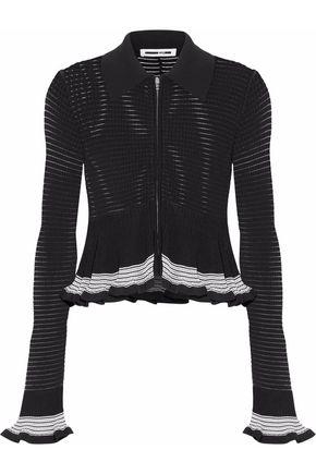 McQ Alexander McQueen Ruffled ribbed cotton-blend top