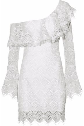 NICHOLAS One-shoulder ruffled broderie anglaise mini dress
