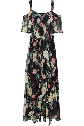 NICHOLAS Cold-shoulder layered floral-print silk-chiffon maxi dress
