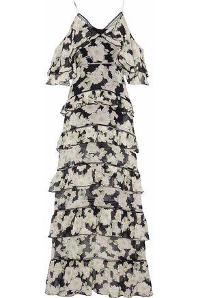 NICHOLAS Cold-shoulder tiered floral-print silk-chiffon maxi dress