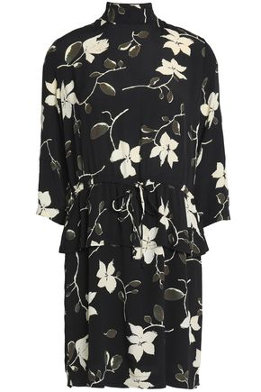 GANNI Ruffled floral-print crepe de chine mini dress