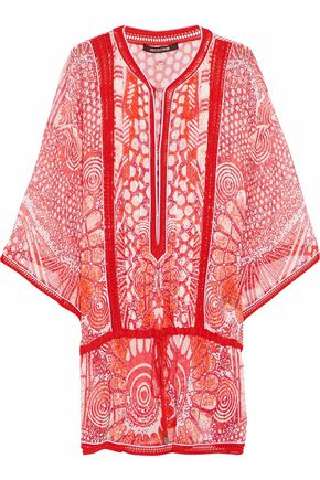 ROBERTO CAVALLI Printed crochet-trimmed blouse