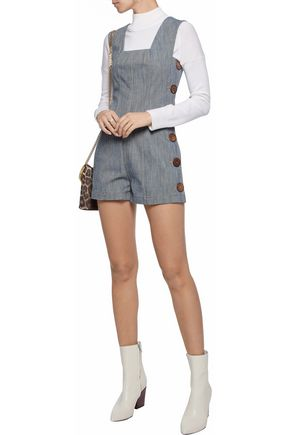 DEREK LAM 10 CROSBY Button-detailed denim playsuit