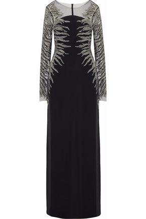 REEM ACRA Embellished silk-blend tulle gown