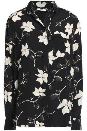 GANNI Floral-print crepe de chine shirt