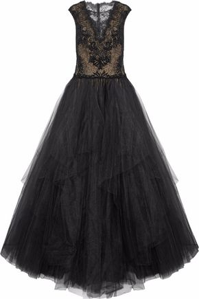 REEM ACRA Embellished lace and tulle gown