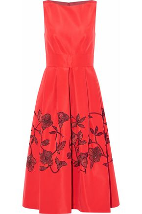 LELA ROSE Embellished pleated silk-satin midi dress