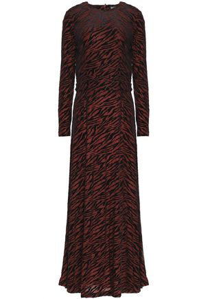 GANNI Zebra-print devoré-velvet maxi dress