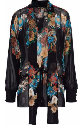 ROBERTO CAVALLI Pussy-bow embellished floral-print silk-chiffon blouse