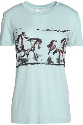 GANNI Printed jersey T-shirt