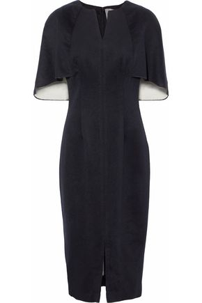 LELA ROSE Cape-effect wool and cashmere-blend dress