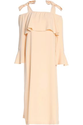 GANNI Cold-shoulder crepe dress