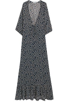 GANNI Fluted floral-print crepe de chine maxi dress