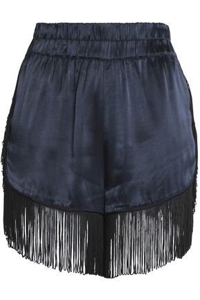 GANNI Fringed crepe-satin shorts