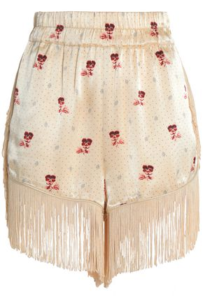 GANNI Fringed printed crepe-satin shorts