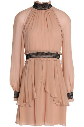 NICHOLAS Ruffled silk-georgette mini dress