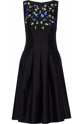 LELA ROSE Embellished wool and silk-blend duchesse-satin dress
