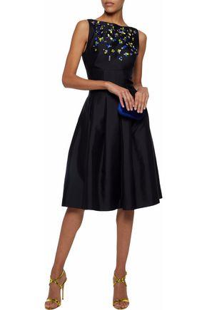 LELA ROSE Pleated embellished wool and silk-blend satin dress