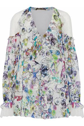 ROBERTO CAVALLI Lace-paneled floral-print silk-chiffon blouse