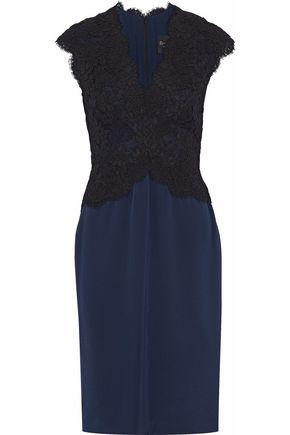 REEM ACRA Corded lace-paneled silk-satin dress