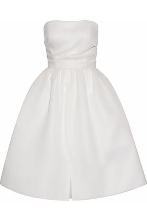 WOMAN STRAPLESS GATHERED NEOPRENE DRESS WHITE