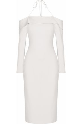 CUSHNIE ET OCHS Off-the-shoulder cady halterneck midi dress