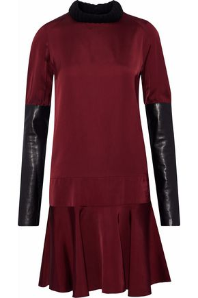 BELSTAFF Leather-paneled satin and duchesse-satin mini dress