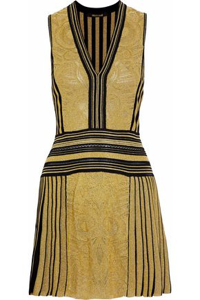 ROBERTO CAVALLI Metallic crochet and intarsia-knit wool-blend mini dress