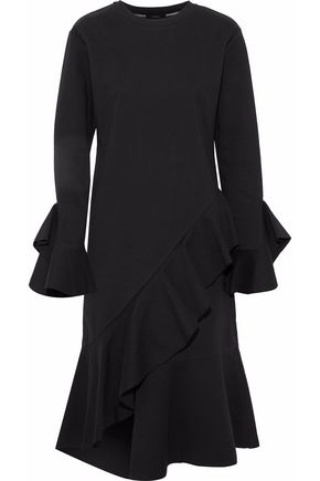 GOEN.J Asymmetric ruffled cotton-ponte dress