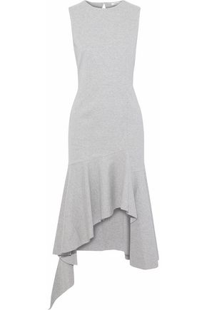 GOEN.J Asymmetric mélange cotton-jersey midi dress