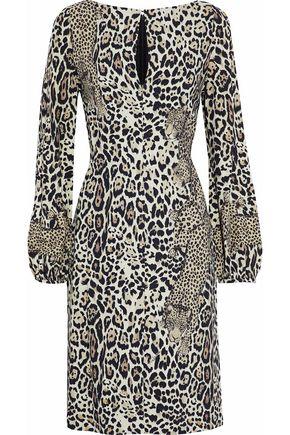 ROBERTO CAVALLI Leopard-print crepe de chine dress