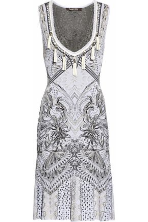 ROBERTO CAVALLI Tasseled jacquard-knit dress