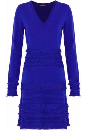ROBERTO CAVALLI Ruffle-trimmed wool-blend dress