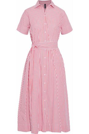LISA MARIE FERNANDEZ Striped cotton-poplin midi shirt dress