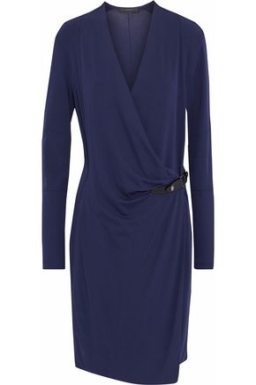 BELSTAFF Leather-trimmed stretch-crepe wrap dress